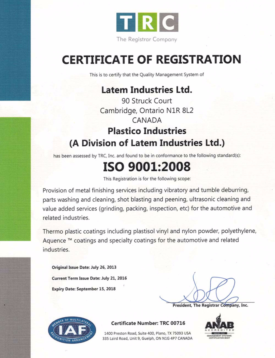 Plastico's ISO Certification